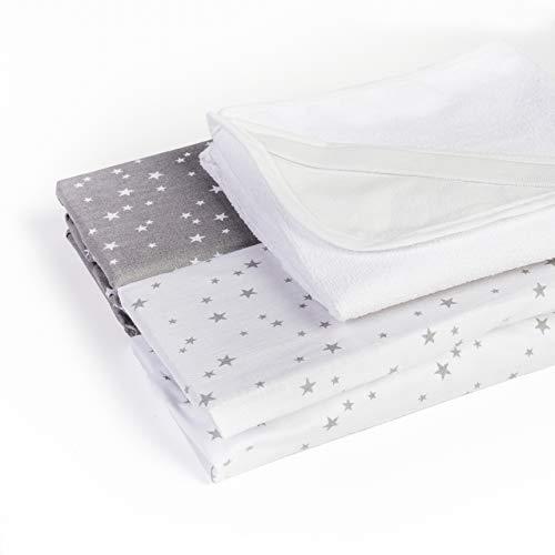 Gulliver - Juego de 2 sábanas bajeras + 1 funda de almohada de 60 x 120 cm, 100% algodón oeko-tex
