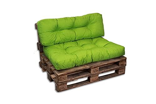 Cojines/colchón de Paleta, sofá, sillón, Asiento para Paleta Euro, Respaldo (Verde, cojín 120 x 40 cm)