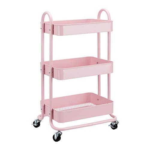 Amazon Basics - Carrito de cocina o multiuso de tres niveles con ruedas en rosa apagado