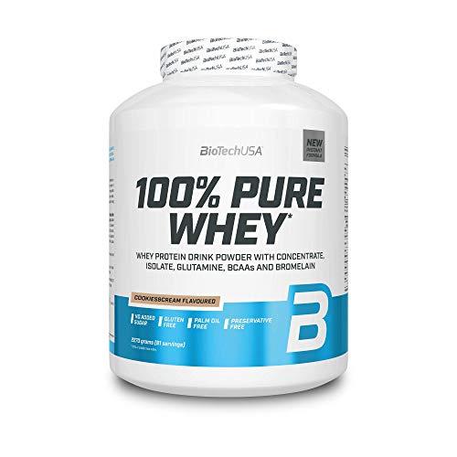 BioTechUSA 100% Pure Whey Complejo de suero de leche con bromelina, aminoácidos, sin azúcar añadido, sin aceite de palma, con edulcorante, 2.27 kg, Cookies & Cream