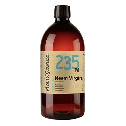 Naissance Aceite Vegetal de Neem 1 Litro - 100% Puro, Virgen, Natural, Prensado en Frío, Vegano, y no OGM - Ideal Para La Piel, Cabello, Plantas