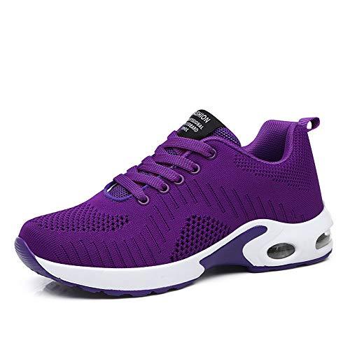 Zapatillas Deportivas de Mujer Air Cordones Zapatillas de Running Fitness Sneakers 4cm Negro Gris Rosado Púrpura Rojo Blanco Morado 41