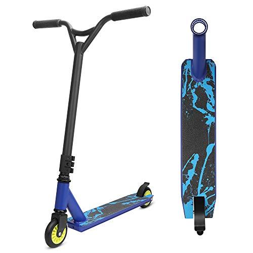YOLEO Stunt Scooter, Patinete de Acrobacias Trucos, Patinete Freestyl, Kick Trick Scooter Pro para niños (Llama Azul)