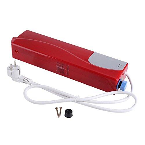 Calentador de agua caliente Mini calentador de agua eléctrico instantáneo sin tanque, baño, cocina, lavado, enchufe de la UE 220 V 3000 W(rojo)