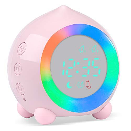 PROKING Reloj Despertador Infantil Digital, Despertador Digital Simulador de Amanecer Despertador para Niñas Niños con Luces Colores y Lámpara de Luz Nocturna Despertador Silencioso (Rosa)