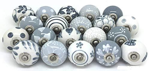 PUSHPACRAFTS - Pomo para armario (cerámica, pintado a mano, 12 unidades), color gris y blanco