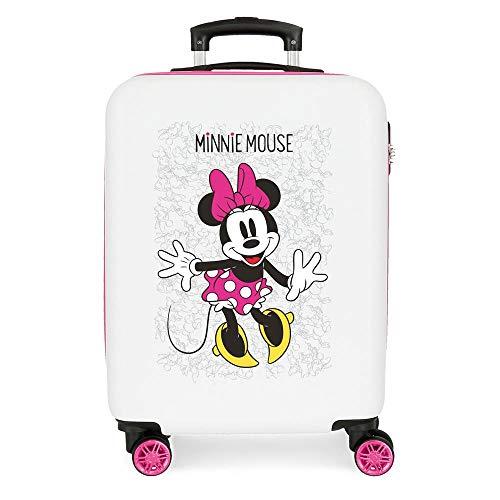 Disney Minnie Enjoy the Day Maleta de cabina Blanco 40x55x20 cms Rígida ABS Cierre combinación 34L 2,8Kgs 4 Ruedas Dobles Equipaje de Mano