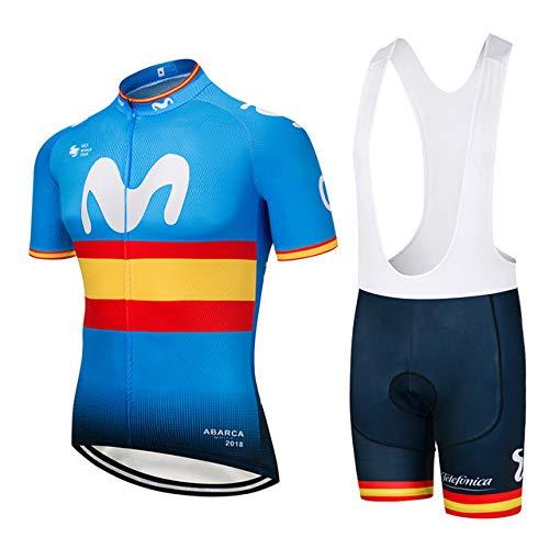 ZHLCYCL Traje Ciclismo Hombre, Maillot Ciclismo y Culotte Ciclismo con 5D Gel Pad para Verano Deportes al Aire Libre Ciclo Bicicleta, MOV-Yellow, L