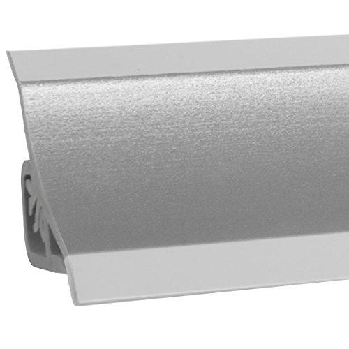 HOLZBRINK Copete para encimera de cocina, aluminio satinado, listón de acabado PVC, listón de encimera 23x23 mm 150 cm