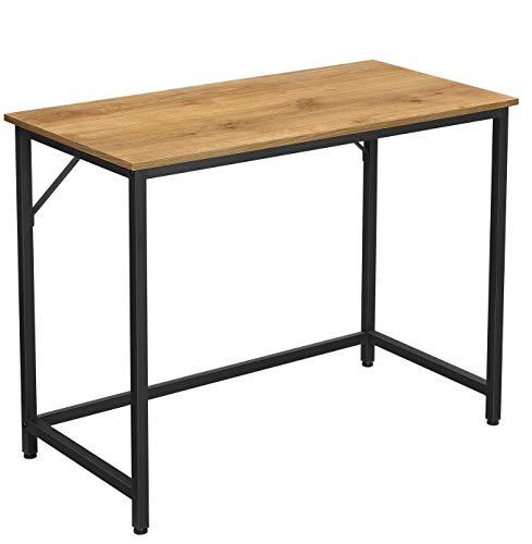 VASAGLE Escritorio, Mesa de Ordenador, Mesa de Oficina pequeña, 100 x 50 x 75 cm, para Estudio, Oficina, Montaje Simple, Acero, Diseño Industrial, Marrón Miel y Negro LWD041B05
