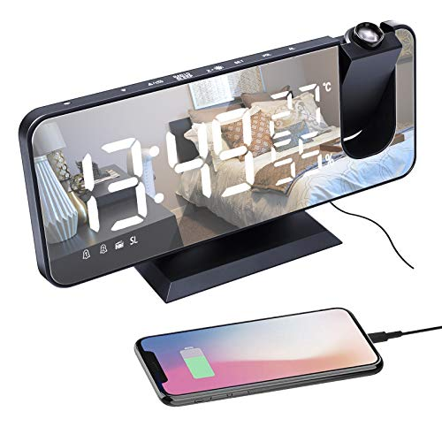 Reloj Despertador de Proyección, FM Radio Despertadores Digital LED, Puerto de Carga USB Diseño de Espejo Pantalla de Temperatura y Humedad, 4 Niveles de Brillo, Alarma Dual, Snooze(Sin Adaptador)