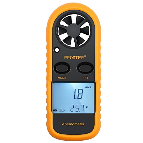 Proster Anemómetro Termómetro Digital de Pantalla LCD Medidor de Velocidad Viento Aire con Luz de Fondo para Vela, Cometa, Surf, Marina, Pescar, etc