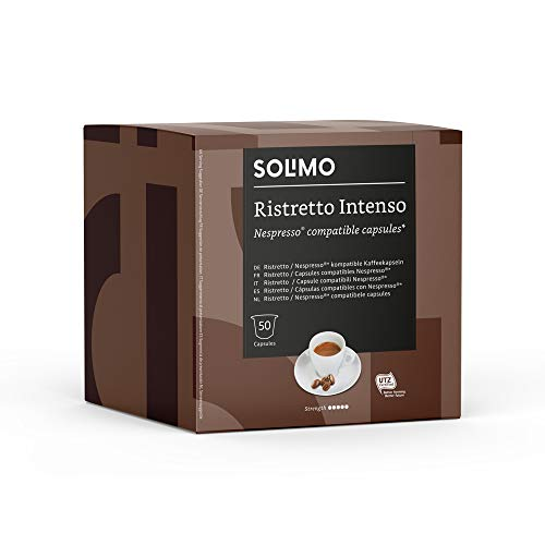 Marca Amazon - Solimo Cápsulas Ristretto Intenso, Compatibles con Nespresso - 100 cápsulas (2 Paquetes x 50)