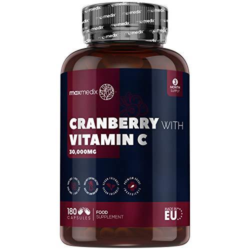 Arándano Rojo Cápsulas 30.000 mg 180 Cápsulas- Suplemento Natural con Vitamina C del Ácido Ascórbico, Extracto de Arándano Rojo Concentrado 50:1 de Alta Absorción, Suministro Para 3 Meses