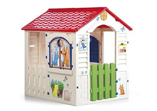 Chicos hicos-Country Cottage Casita Infantil de Exterior, Color Beige con tejado Rojo (La Fábrica de Juguetes 89607), Multicolor, única