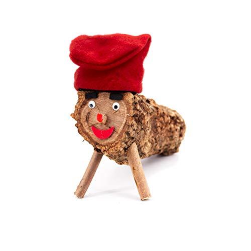 H HANSEL HOME Tronco de Navidad Caga Tio, Tió de Nadal Tronco Cagatio diseño de catalán Occidental, Decoracion Navidad - 22 cm