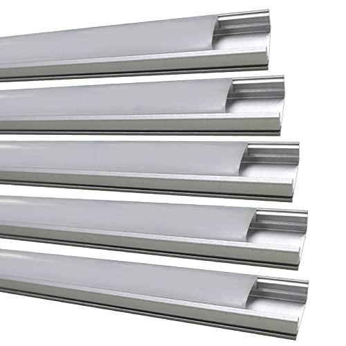 Pack 5x Perfil de Aluminio para Tira LED con Tapa Translucida. Tapones de los Extremos y clips de montaje Incluidos. Canaleta LED.