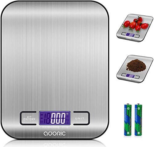 ADORIC Báscula Digital para Cocina de Acero Inoxidable, Balanza de Alimentos Multifuncional, Peso de Cocina, Color Plata (Baterías Incluidas) (Plateado)