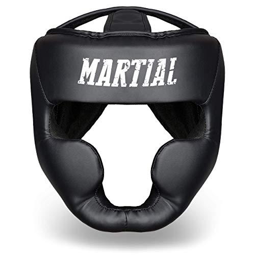 Martial Casco de Boxeo con Increíble Protección de Impactos – Protector de Cabeza Boxeo Completo – Visión Ideal y Mínima Sudoración – Artes Marciales, MMA, Kick Boxing, Sparring – Incluye Bolsa