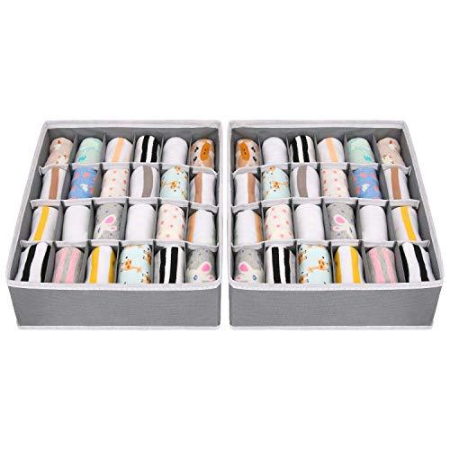 joyoldelf 2 Paquetes Textil organizadores cajón divisores, 24 Celdas Plegable Ropa Interior Cajas de Almacenamiento para almacenar Calcetines, Bufandas, Sujetador