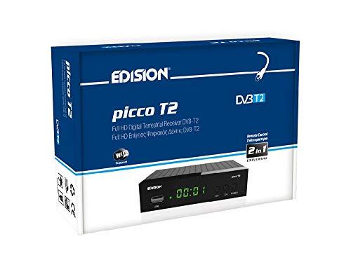 EDISION Picco T2 Full HD TDT Receptor H264 FTA, DVB-T2, USB, HDMI, SCART, USB WiFi Support, Mando a Distancia universal IR 2en1, Negro