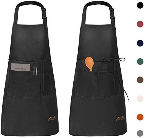 Viedouce 2 Piezas Delantales Impermeables Ajustables del Cocinero con Bolsillo Cocina Delantale de Cocina para Mujeres Hombres,Delantal Chefs Cocina para Cocinar/Hornear (Negro)
