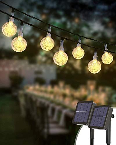 Guirnaldas Luces Exterior Solar [2 Pack], Kolpop Total de 60 LED Cadena de Bola Cristal Luz, Guirnalda Solar LED Bola de Cristal Luces Decoracion para Terraza Hogar Jardín Arboles Patio Bodas
