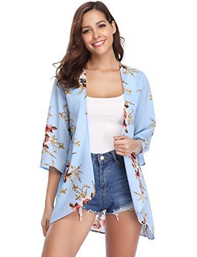 Aibrou Cárdigan Kimonos Mujer Camisolas y Pareos Pareo Playa,Cardigan Verano Manga 3/5 Tops Blusa Floral Suelta,Vacaciones Playa Chal,(Azul Claro, S)