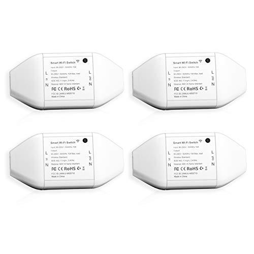 Interruptor Universal Inteligente con Wi-Fi, con Control Remoto Meross App. Compatible con Alexa, Google Assistant y SmartThings. Modelo MSS710, Paquete de 4.