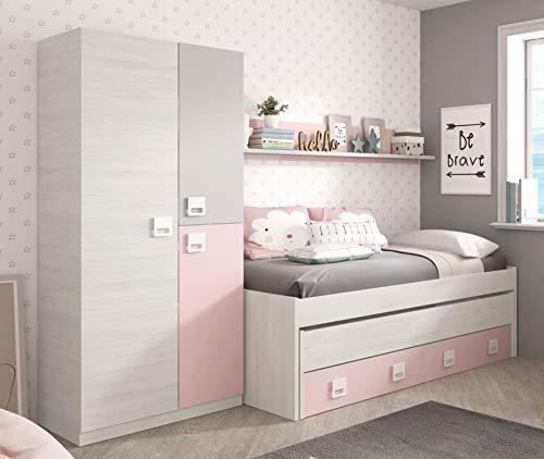 Miroytengo Pack Dormitorio Infantil Juvenil Cama Nido con Estante y Armario Color Rosa y Blanco sin somieres