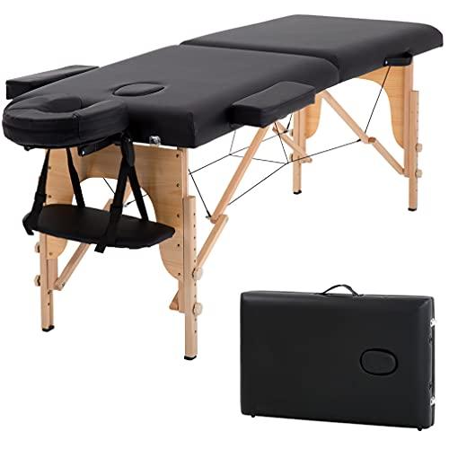 T-LoVendo TLV-MT15B Camilla masaje plegable de madera mesa cama banco 2 zonas acolchada negro