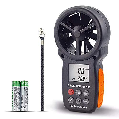 BTMETER BT-100 Anemómetro Termómetro Digital de Pantalla LCD Medidor de Velocidad Viento Aire con Luz de Fondo MAX/MIN/AVG para Vela Marina Tiroteo