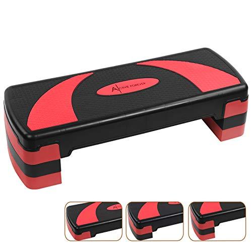 Active Forever Step para Fitness, 3 Alturas Ajustables, Adecuado para Uso doméstico y de Oficina (Negro Rojo)