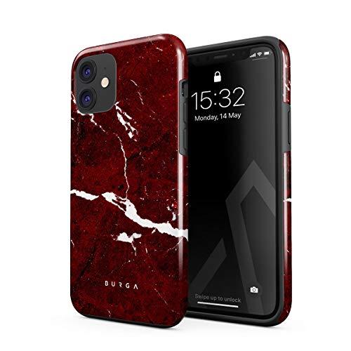 BURGA Funda para teléfono compatible con iPhone 12 – Iconic Ruby Red Mármol Lindo para Mujer Resistente a Golpes Carcasa Duro de Doble Capa + Funda Protectora de Silicona