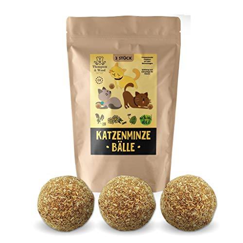 3 bolas de menta gatera, producto natural, se compone de hierba gatera 100 % natural, relajación para gatos, juguete para gatos, promueve el juego natural, ayuda al cuidado dental