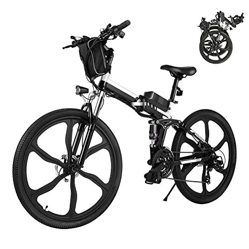 Bicicleta Eléctrica E-Bike Plegable, Bicicleta Eléctrica de 26' para Hombres de 250W con batería extraíble de 8Ah, Shimano de 21 velocidades, Bicicleta de Ciudad para Hombres y Mujeres