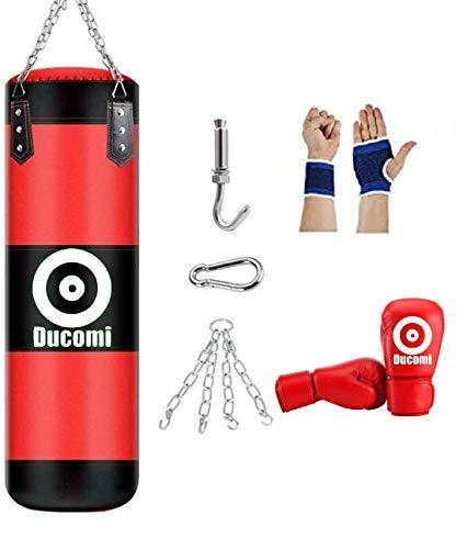 Ducomi Rocky Saco de Boxeo para Colgar en el Techo, Kit de Boxeo, Kick Boxing, Fitboxe Saco Vacío, Guantes, Banda de Mano, Muñeca, Kit de Montaje, Entrenamiento en Casa, Gimnasio, Muay Thai (120 cm)