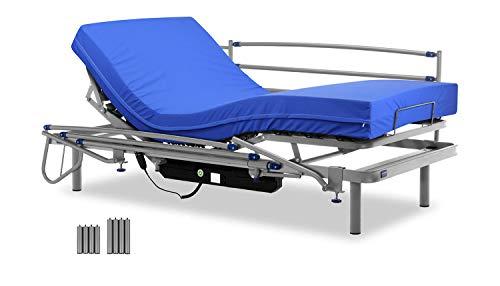 Gerialife Cama articulada eléctrica con colchón Sanitario viscoelástico y barandillas   Patas más Altas (90x190, Plateado)