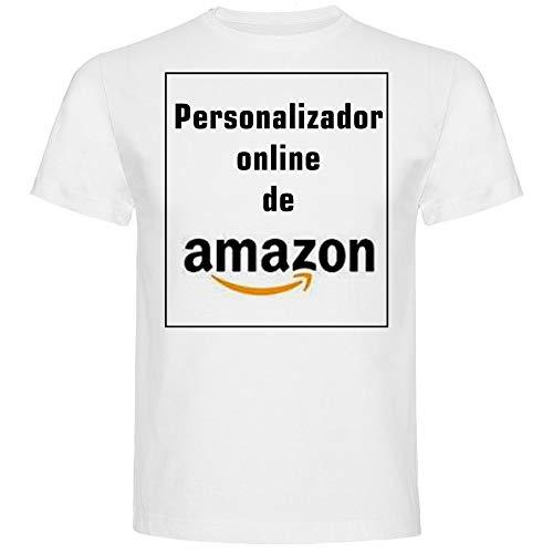 Camiseta Personalizada Hombre · Manga Corta · 100% Algodón · Impresión Directa (DTG) Impresión (Blanco, L)