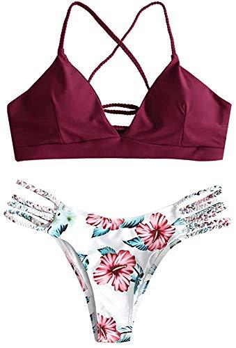JFAN Bikini Acolchado para Mujer Traje de Baño Ropa de Playa Sin Cables Bañador Sin Aro Traje de baño con Diseño de Flores y Cordones Dos Piezas