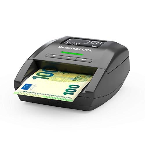 Detectalia D7X - Detector automático de billetes falsos para las divisas EUR, GBP, CHF, PLN y SEK con 100% detección. No necesita ser actualizado para la divisa EUR - 14 x 12 x 6 cm