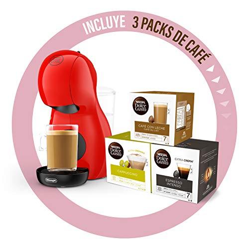 Nescafé Dolce Gusto Piccolo XS De'Longhi EDG210.R - Cafetera de cápsulas con 15 bares de presión, 0.8L, con tres packs de café, color rojo