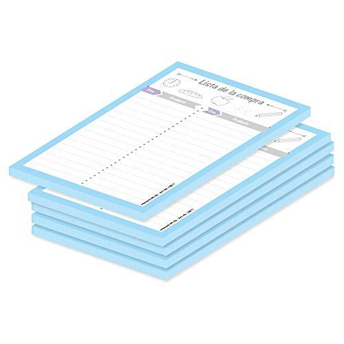 PRICARO Lista de la compra'Mezcolanza' azul claro, A6, 5 piezas