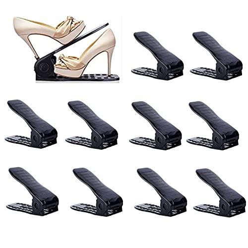YIHATA Organizador Zapatos Organizador de Zapatos Organizador Calzado Apilable Apilador de Zapatos Soportes para Zapatos(10 pieces, Negro)
