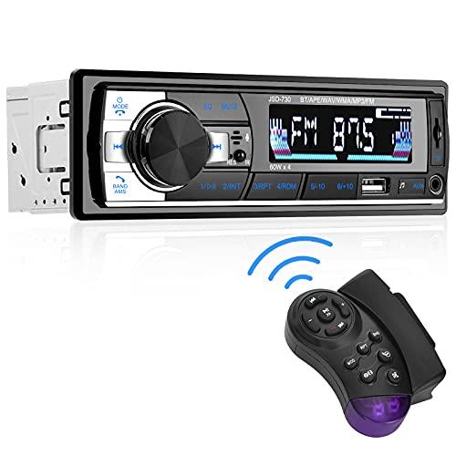 Aigoss Radio Coche Autoradio Bluetooth 60W x 4 FM Estéreo de Manos Libres Llamadas Control Remoto Inalámbrico Stéreo de Coche con Reproductor de MP3 USB,Soporte iOS y Teléfono Android