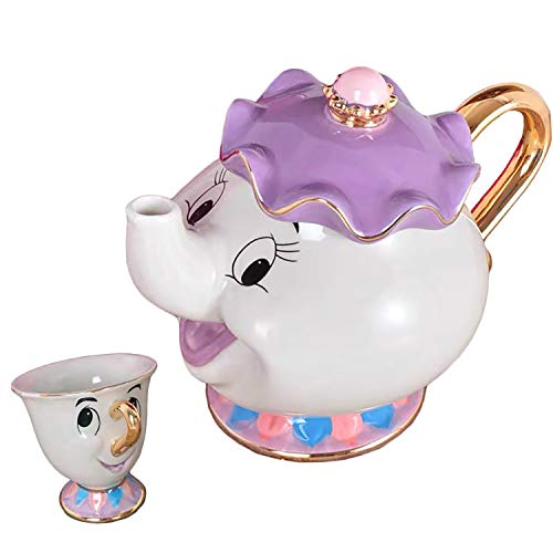 Dibujos animados de la Bella y la Bestia tetera Sra. Potts Chip taza escultura cerámica juego de té (tetera * 1 y taza * 1)