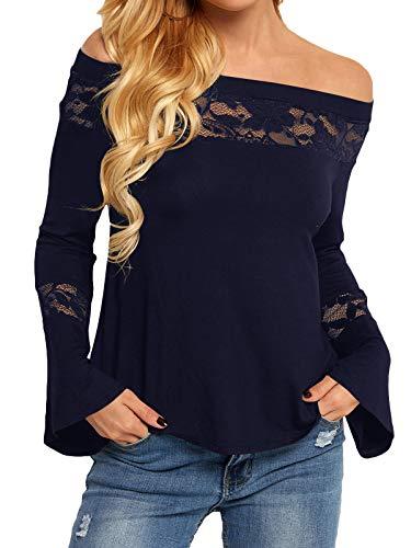 YOINS Camisa para Mujer Invierno Camiseta Manga Larga Camisas de Encaje con Hombros Descubiertos Blusa Informal