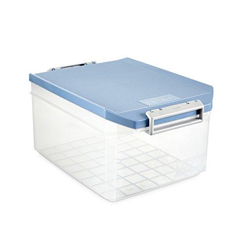 Tatay Caja Almacenaje Multiusos con Tapa, 14 L de Capacidad, Con Asas, de Polipropileno, Libre de BPA, Azul Paloma, Medidas 27 x 39 x 19 cm