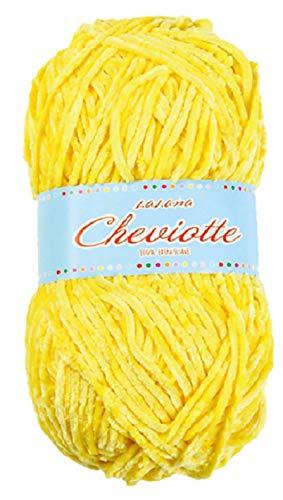 Hilo de chenilla aterciopelada para Tejer Punto Crochet o Ganchillo CHEVIOTTE de TORRIJO 85g (1 unidad * 85g)   Color 12642-AMARILLO