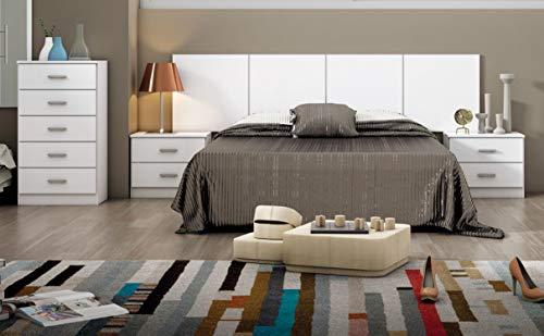 Miroytengo Pack Dormitorio habitación Matrimonio Couple Completo Color Blanco Moderno (cabecero + 2 mesitas + cómoda)